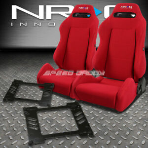 Nrg Type R Red Reclinable Racing Seats Bracket For 92 95 Honda Civic Eg Ej1 Eh