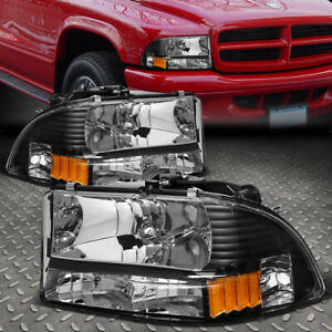 For 1997 2004 Dodge Dakota durango Black Housing Amber Side Headlight lamps Set