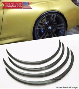 2 Pairs Black Carbon 1 Flexible Arch Wide Fender Extension Spats Lip For Ford