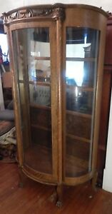 Antique Oak China Cabinet With Shelves 68 H X 38 W X 13 D