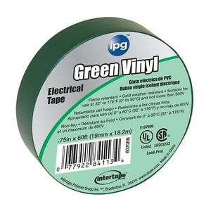 Intertape 85827 100 Pack 75 In X 60 Ft Vinyl Electrical Tape Green