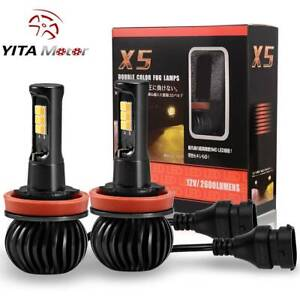 2xyitamotor 160w H8 H11 Led Fog Light Bulbs White Amber Yellow Dual Color 1300lm