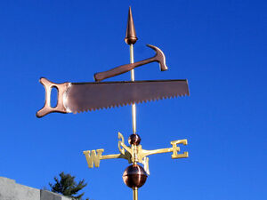 Saw Hammer Weathervane W Copper Balls Brass Directionals Made In The Usa