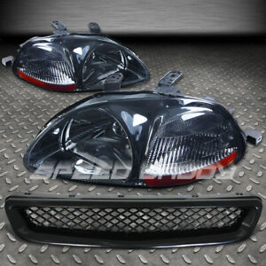 For 96 98 Civic Ej Ek Black Front Bumpber Grill Smoke Amber Headlights Lamps