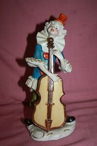 Vintage Dresden Lace Clown Figurine 10 Tall Rare