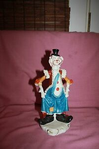 Vintage Dresden Lace Clown Figurine 11 Tall Rare