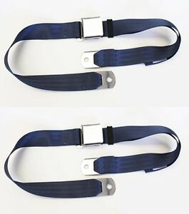 New Sunbeam Tiger Alpine Mg Blue Seat Belts Set Of 2 Chrome Buckle Classic Look