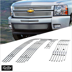 Fits 2007 2013 Chevy Silverado 1500 Stainless Silver Billet Grille Insert Combo
