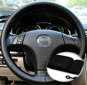 Zone Tech Steering Wheel Cover With Needles Thread Diy Black Leather Sew On