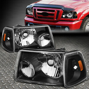 For 2001 2011 Ford Ranger Black Housing Amber Corner Bumper Headlight lamp Set