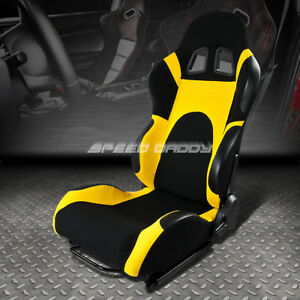 Fully Reclinable Yellow black Bucket Racing Seat slider Rail Driver Left Side