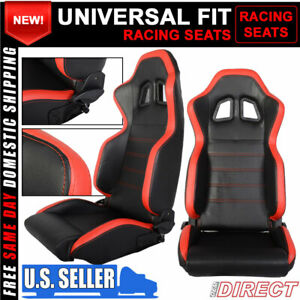 For Black Pvc Leather Red Stripe Racing Seats Reclinable With Slider Pair