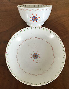 Antique Chinese Export Porcelain Tea Cup Bowl Saucer Star Federal 19th Century