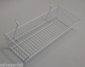 Grid Gridwall Panel Slatwall Basket Store Display White 24 x10 x5 Lot Of 6 New