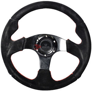 320mm 6 bolt Racing Steering Wheel Full Black Suede Red Line Stiched