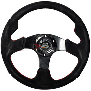 320mm Jdm Style 6 Bolt Racing Steering Wheel Black Suede Red Stiching