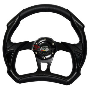 Mugen Emblem 320mm Jdm Racing Sport Battle Type Steering Wheel Black Pvc Leather