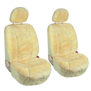 Pair Of Car Front Seat Covers Low Back Universal Australian Sheepskin Champagne