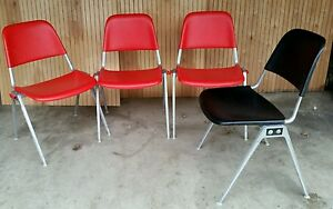 Vtg Knoll Mid Century Modern Stackable Desk Chairs Retro Orange Black 70s 60s