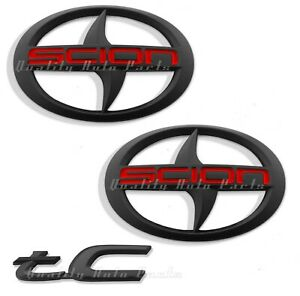 3 Pieces Brand New Scion Tc Front Rear Black Badge Emblem 2011 2016 Tc F R Mbr