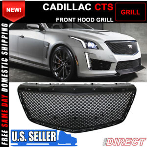For 14 16 Cadillac Cts Sedan B Style Black Front Bumper Hood Grille Grill Abs
