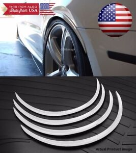 2 Pairs White 1 Flexible Arch Wide Fender Flares Extension Guard Lip For Ford
