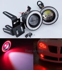 Red 2 5 Projector Led Fog Daytime Running Light W Cob Halo Angel Eyes Rings P
