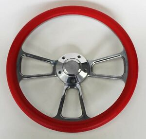 55 56 Chevy Bel Air Red And Billet Steering Wheel 14 Chevy Bowtie Cap