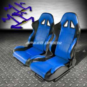 2 X Blue black Pvc Leather Racing Seats universal Slider 4pt Harness Blue Belt