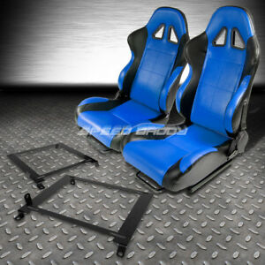 2 X Blue black Pvc Leather Racing Seats low Mount Bracket For 01 05 Honda Civic