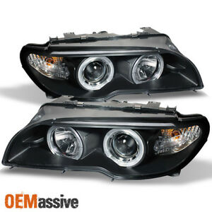 Fits 04 06 E46 3 series 2dr Coupe Dual Halo Projector Black Headlights Lamps Set