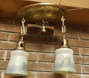 Antique Victorian Brass Pan Chandalier Painted Glass Shades Old Vtg 525 16