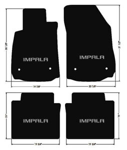 New Black Floor Mats 2014 2020 Chevy Impala Embroidered Logo In Silver All 4