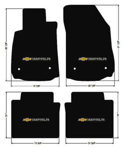 New Black Floor Mats 2014 2018 Chevy Impala Embroidered Bowtie Double Logo All 4