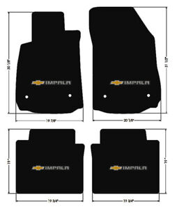 New Black Floor Mats 2014 2020 Chevy Impala Embroidered Bowtie Double Logo All 4