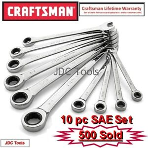 Craftsman 10 Pc Combination Ratcheting Wrench Set Polished All Sae 1 4 3 4 20