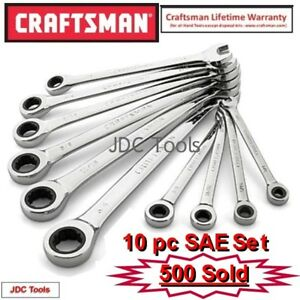 Craftsman 10 Pc Combination Ratcheting Wrench Set Polished All Sae 1 4 3 4