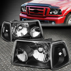 For 01 11 Ford Ranger Black Housing Clear Corner Headlight Replacement Headlamp