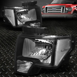 For 2009 2014 Ford F150 Pickup Pair Black Housing Clear Side Headlight lamp Set
