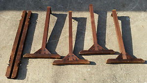 Vtg Antique Industrial Coffee Table Desk End Stand Legs Feet Quilt Stretcher Rug