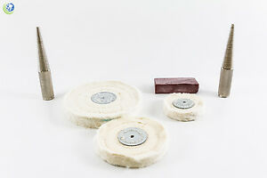 Muslin Polishing Buffing Kit W Spindle Left Right Chuck 1oz Rouge Dental Lab