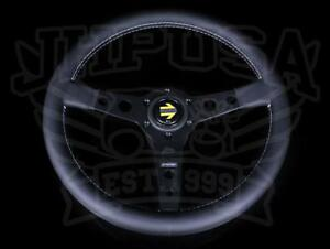 Momo Prototipo Steering Wheel 350mm Black Spokes Leather Porsche Honda Toyota