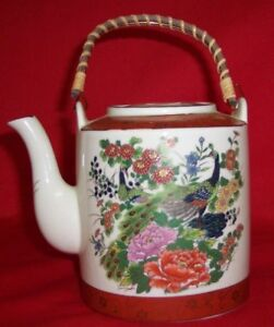 Vintage Hand Painted Satsuma Peacock Teapot W Bamboo Handle Japan
