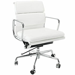 Softpadded Mid Back Management Chair Office Reproduction White