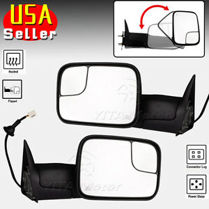Pair Towing Mirrors For 98 01 Dodge Ram Pickup 2002 Ram 2500 3500 Power Defrost