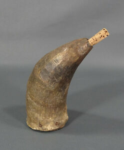 Primitive Revol War Era Musket Reload Powder Holder Bull Horn Wood Base