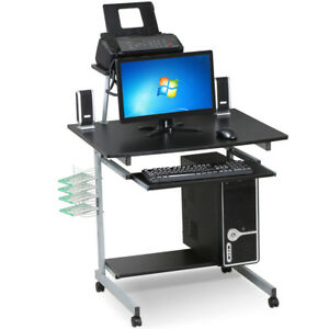 Mobile Computer Desk With Keyboard Tray printer Shelf And Monitor Pc Stand Black