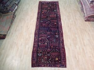 4 X 12 Runner Hand Knotted Persian Rug Semi Antique Rich Sarouk Unique