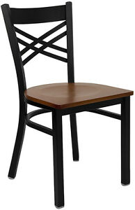 Restaurant Metal Cross Back Chairs Cherry Wood Seat Lifetime Frame Warranty