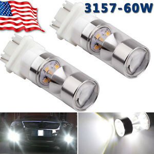 2 X 6000k White 3157 High Power 60w Non Polarity Led Backup Reverse Light Bulbs
